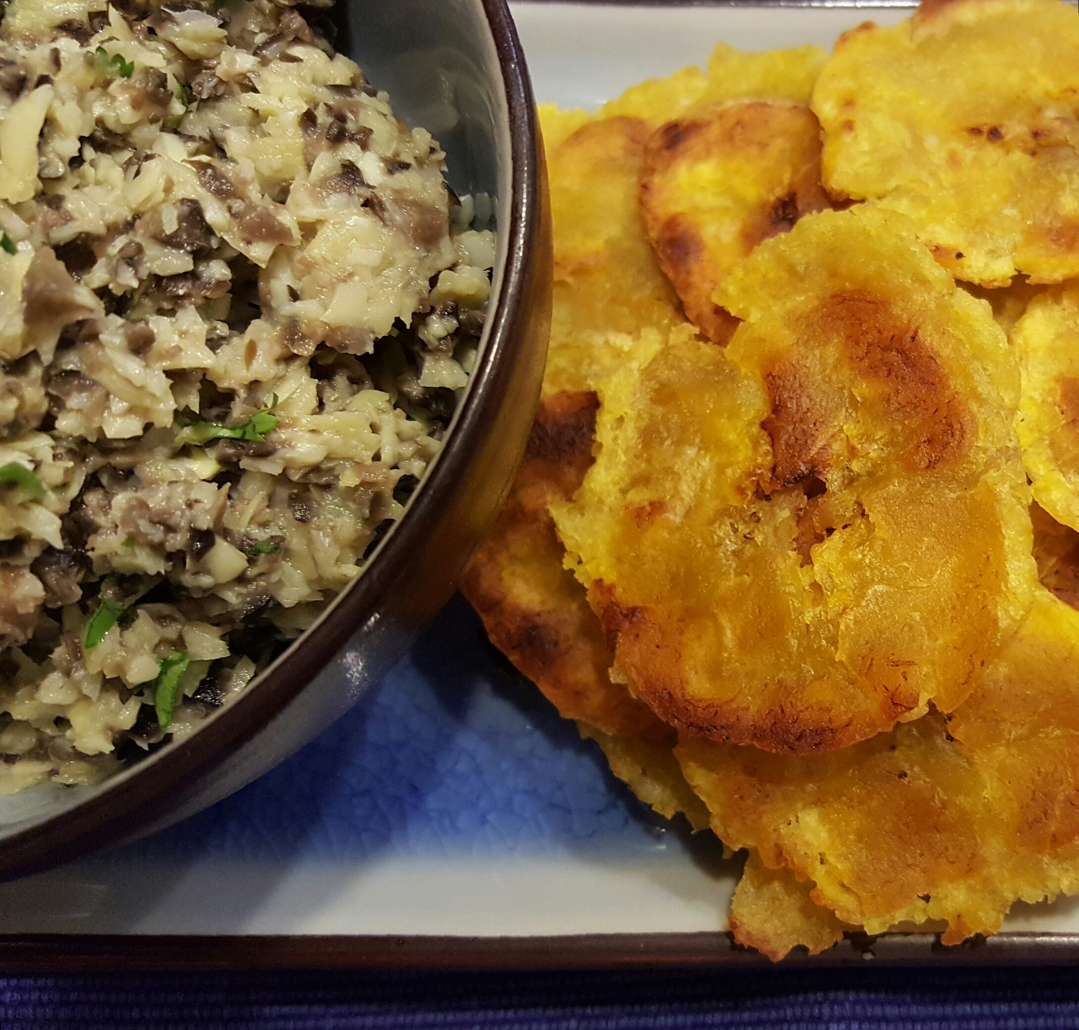 Square Tostones with Artichoke and Black Olice Tapenade