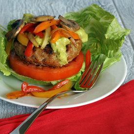 Turkey Burgers & Veggies with Spicy Avocado Sauce