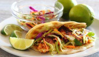 Paleo Spicy Baja Soft Tacos With Lime Slaw And Avocado Cilantro Sauce Paleo Newbie