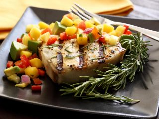 Grilled Halibut Steak with Mango-Pineapple-Avocado Salsa