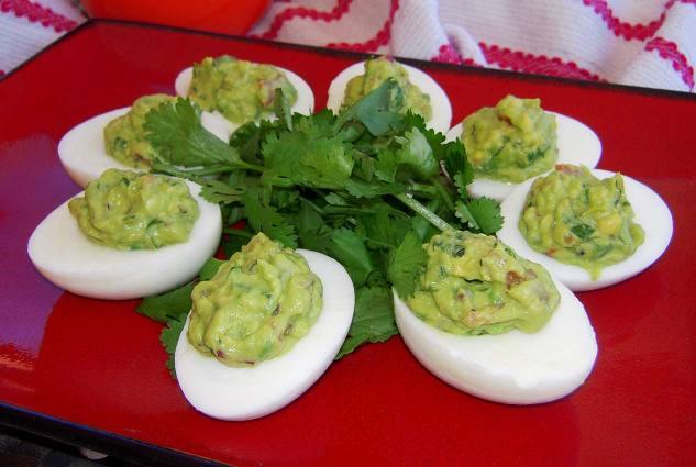 paleo recipe for guacamole deviled eggs from skinnytaste.com