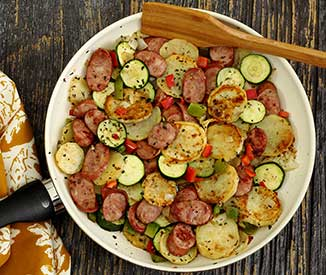 paleonewbie.com recipe for quick skillet sausage and sweet potatoes