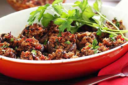 Sausage, Artichoke & Roasted Pepper Stuffed Mushrooms Paleo Recipe