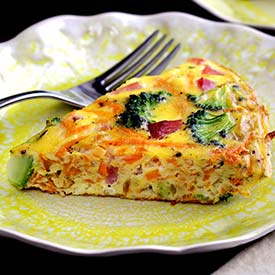 easy paleo recipe for Ham, Broccoli & Sweet Potato Frittata