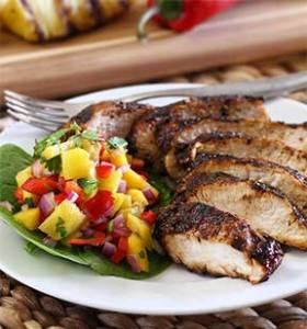 easy paleo recipe for jerk chicken with a mango-pineapple salsa