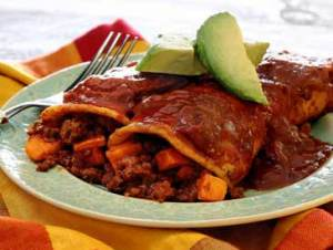 easy paleo recipe for enchiladas with chorizo and sweet potatoes
