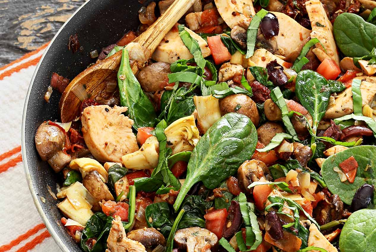easy paleo recipe for one skillet Mediterranean chicken