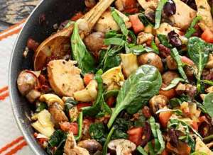 easy paleo recipe for a one-skillet paleo Mediterranean Chicken dish