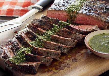 Paleo Grilled Flank Steak with Chimichurri Sauce Recipe