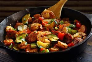 easy paleo recipe for shrimp and sausage 30-minute skillet meal