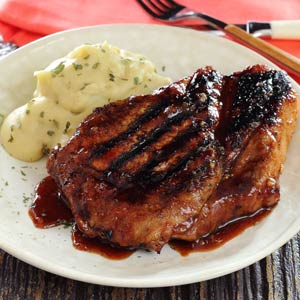 simple paleo recipe for marinated pork chops with mashed potatoes
