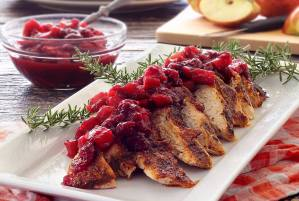 easy paleo recipe for roasted turkey breast with an apple cranberry compote