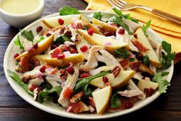easy paleo recipe for a roasted turkey and pear salad with pear vinaigrette