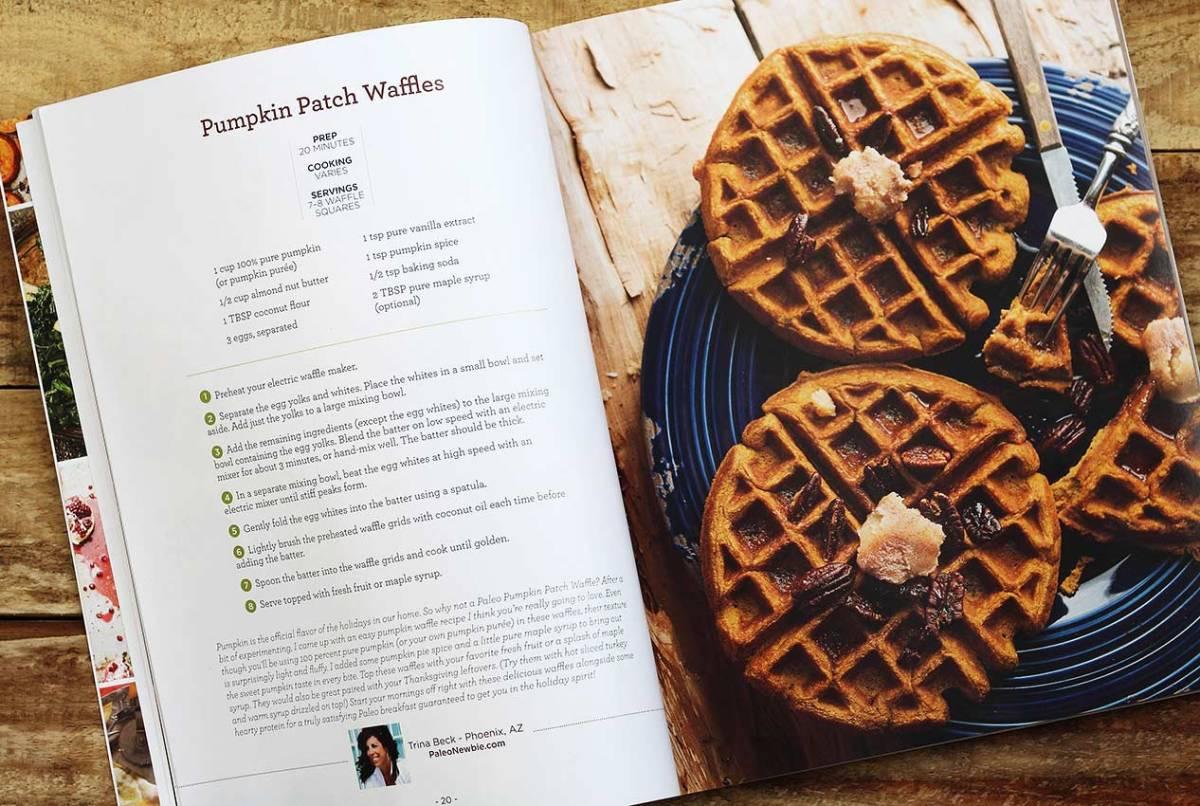 paleo magazine 2015 holiday cookbook trina's paleo pumpkin waffles