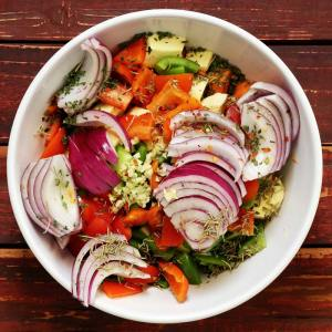 paleo chop and drop veggie dish - sliced vegetables