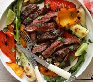 skirt steak and veggies paleo grilling recipe