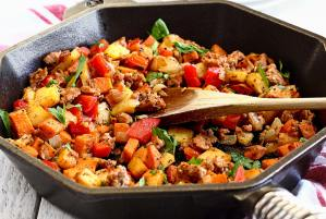 how to make a simple paleo hash with meat and potatoes