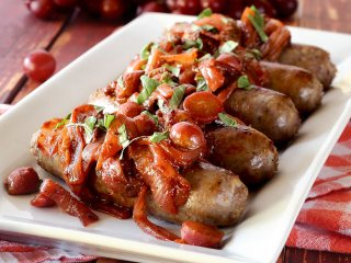 Italian Sausage, Grapes & Camelized Onions Paleo Skillet Meal