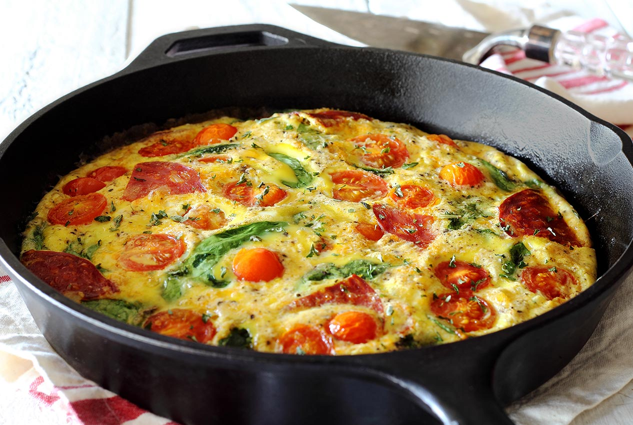 simple paleo frittata recipe with chorizo and tomatoes