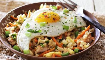 simple paleo chicken fried rice bowl made with cauliflower rice