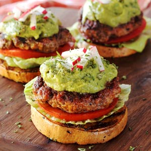 "Paleo Beef & Chorizo Sliders on Sweet Potato ""Buns"""