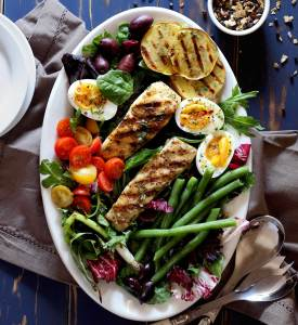 simple recipe for halibut nicoise salad with a lemon and herb vinaigrette