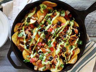 Paleo Chicken Skillet Nachos with Avocado Sauce