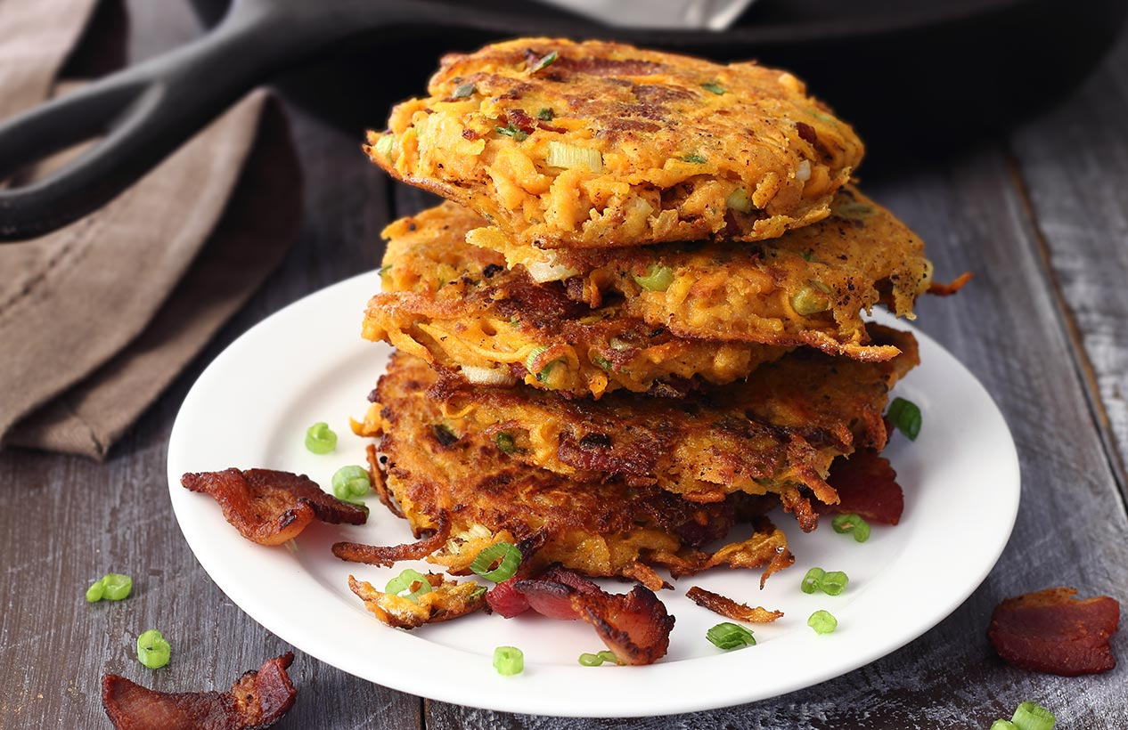 easy sweet potato and bacon fritters