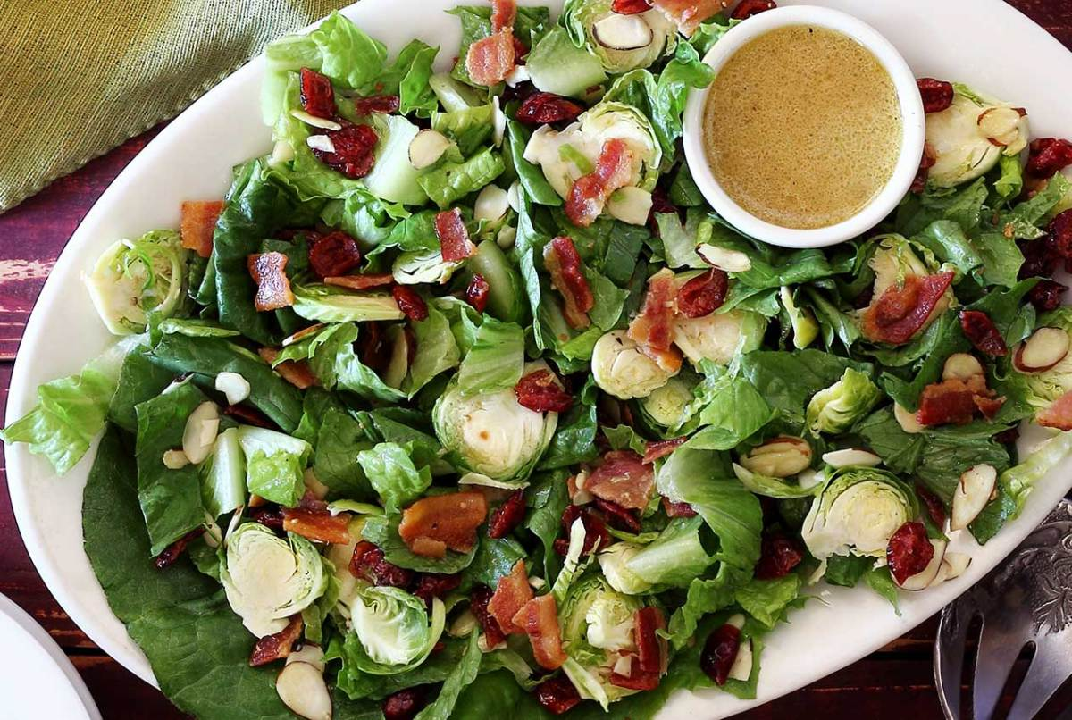 easy paleo recipe for brussels sprouts salad with lemon vinaigrette