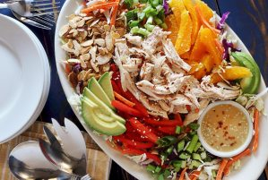 easy paleo Asian chicken salad with creamy sesame dressing