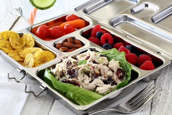 paleo newbie chicken salad to go featuring the Planetbox meal prep container