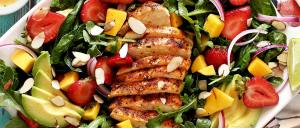 simple paleo and gluten free chicken salad with strawberries and mango