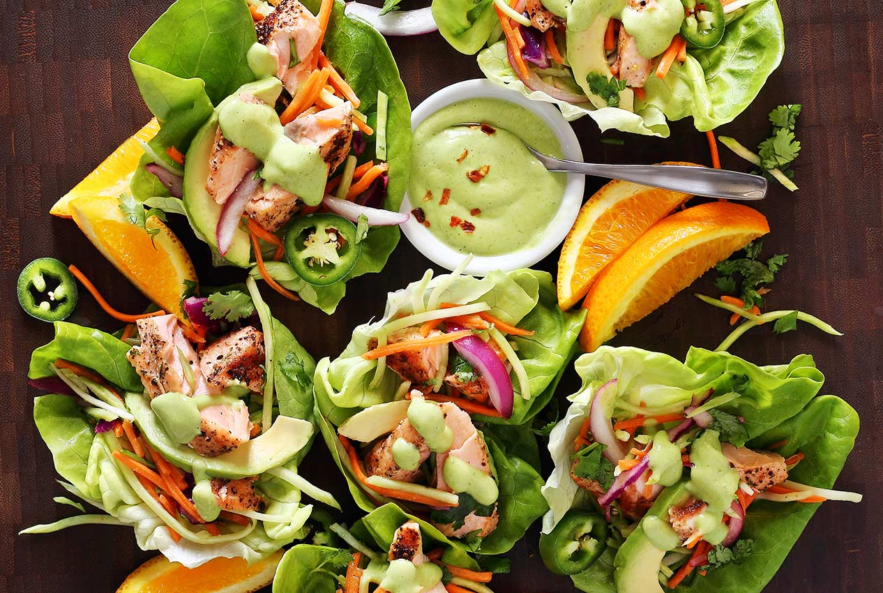 easy paleo recipe for salmon wraps with avocado sauce
