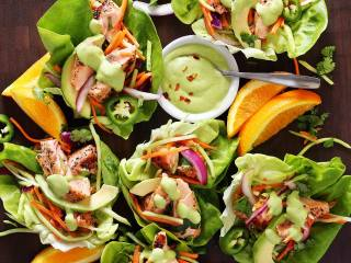 Grilled Salmon Taco Wraps with Avocado Sauce