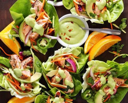 easy paleo recipe for salmon wraps with avocado sauce