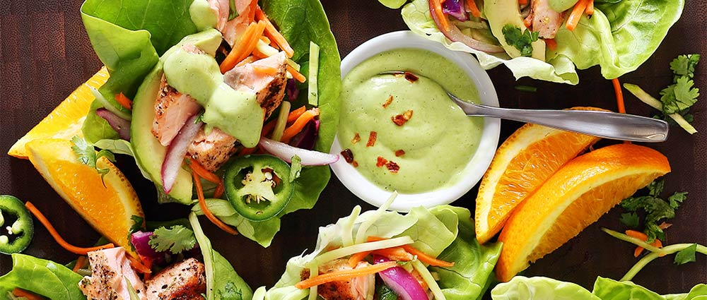 salmon taco wraps with avocado sauce easy paleo recipe