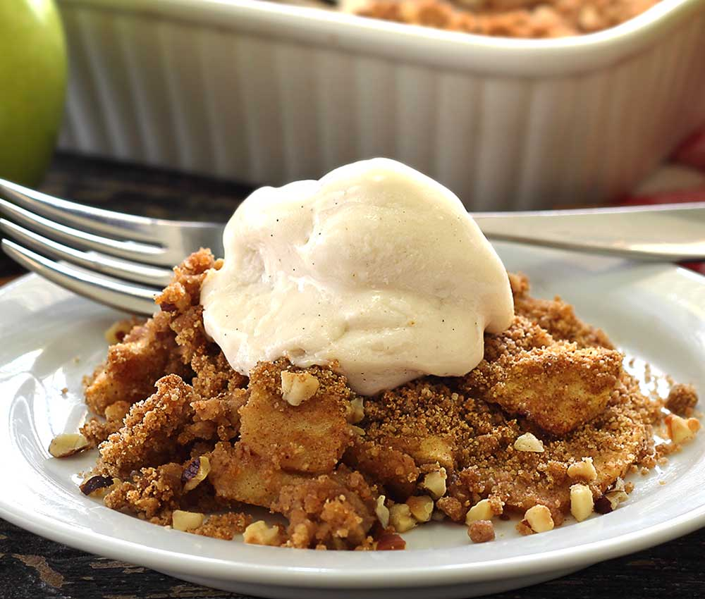 easy apple crisp paleo recipe complete with a crunchy crumble topping