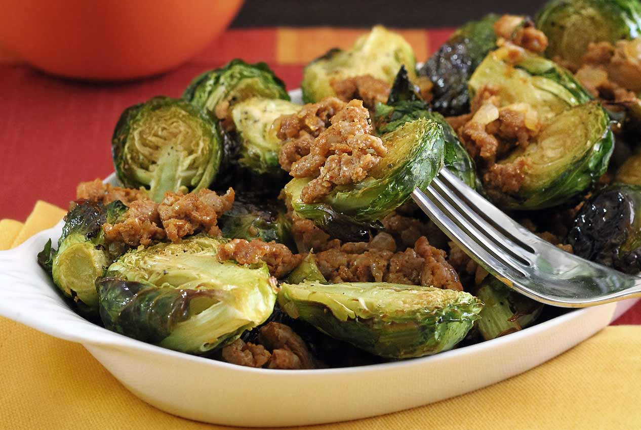 easy brussels sprouts and chorizo paleo and gluten-free entree