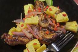 grilled pork chops with pineapple onion and chili pepper salsa