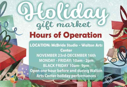 The hours and location for the Holiday Gift Market