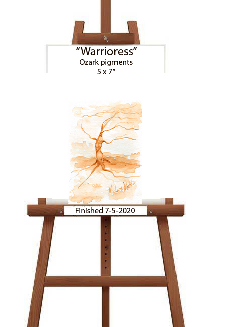 Warrioress, by Madison Woods. A monochromatic in sassafras root bark pigment.