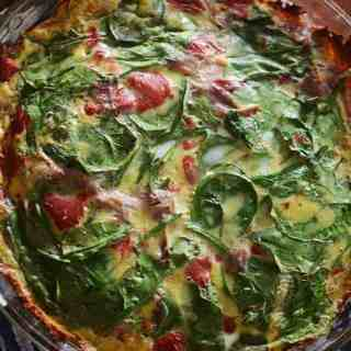 Spinach, Prosciutto, and Roasted Red Pepper Quiche with Sweet Potato Crust
