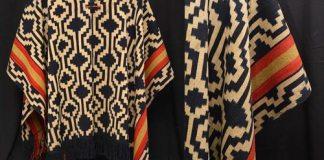 Poncho atribuído al cacique Cayupán Lana. Tejido en telar vertical teñido con técnica de Ikat. Región pampeana, s.XIX Colección MAPJH