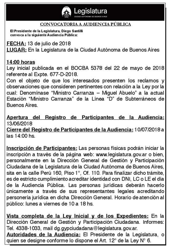 Audiencia Pública 13/07/18 14hs.