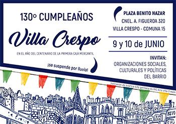 Villa Crespo festeja su 130 aniversario ¡con un gran festejo!