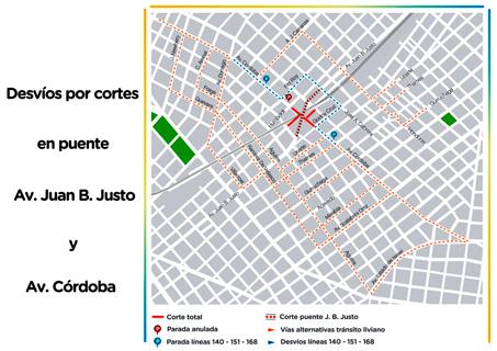 Av. Córdoba y Juan B. Justo cortada por 45 días