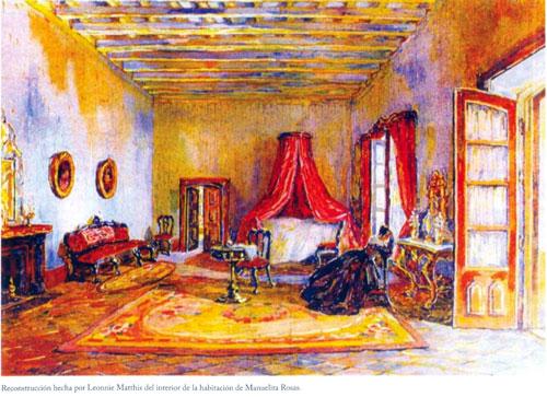 Reconstrucción hecha por Leonnie Matthis del interior de la habitación de Manuelita Rosas.