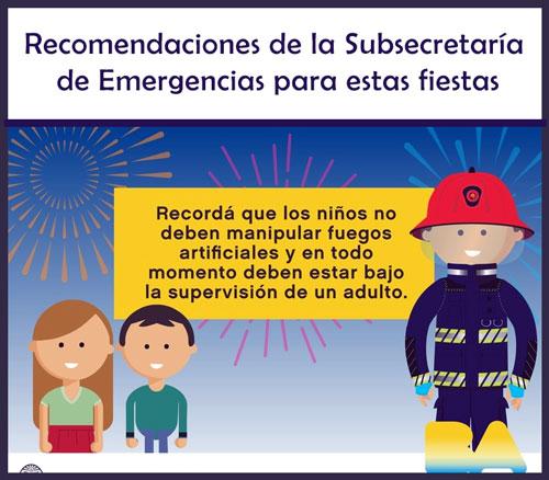 Consejos de la Subsecretaría de Emergencias para estas fiestas