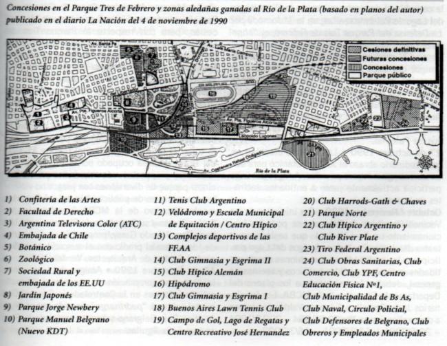 Concesiones en el Parque Tres de Febrero y zonas aledañas ganadas al Río de la Plata (basado en planos del autor) ubicado en el diario La Nación del 4 de noviembre de 1990