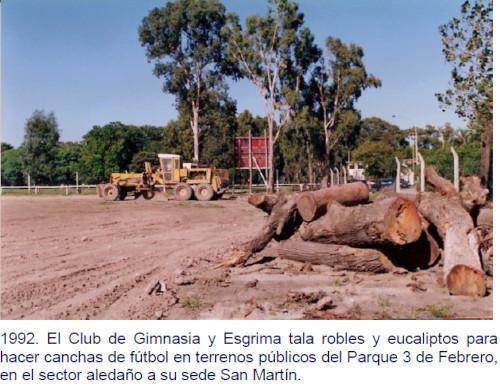 1992. El Club de Gimnasia y Esgrima tala robles y eucaliptos para hacer canchas de fútbol en terrenos públicos del Parque 3 de Febrero, en el sector aledaño a su sede San Martín.